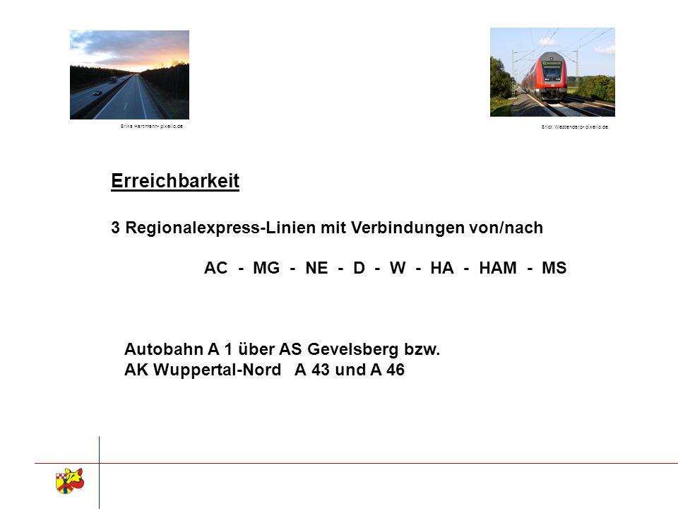 Erreichbarkeit 3 Regionalexpress-Linien mit Verbindungen von/nach AC - MG - NE - D - W - HA - HAM - MS Autobahn A 1 über AS Gevelsberg bzw. AK Wuppert