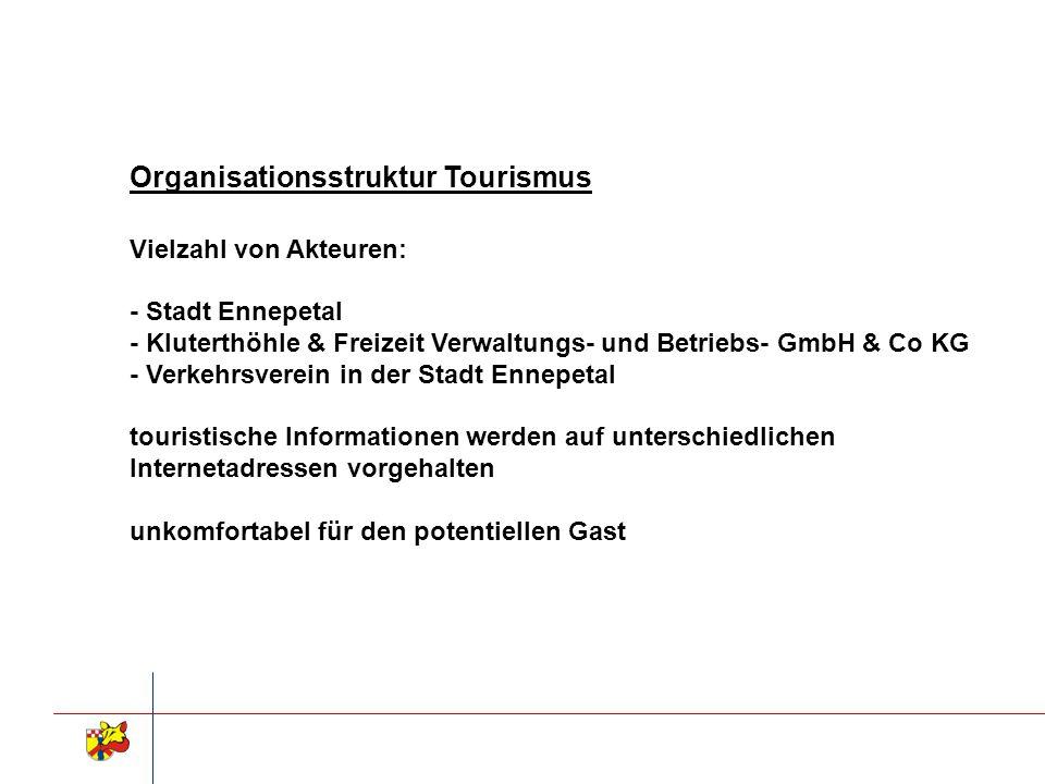 Organisationsstruktur Tourismus Vielzahl von Akteuren: - Stadt Ennepetal - Kluterthöhle & Freizeit Verwaltungs- und Betriebs- GmbH & Co KG - Verkehrsv