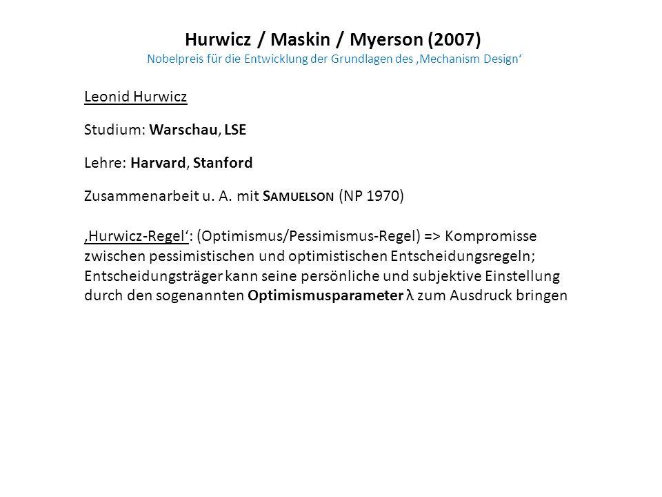Hurwicz / Maskin / Myerson (2007) Nobelpreis für die Entwicklung der Grundlagen des Mechanism Design Leonid Hurwicz Studium: Warschau, LSE Lehre: Harv