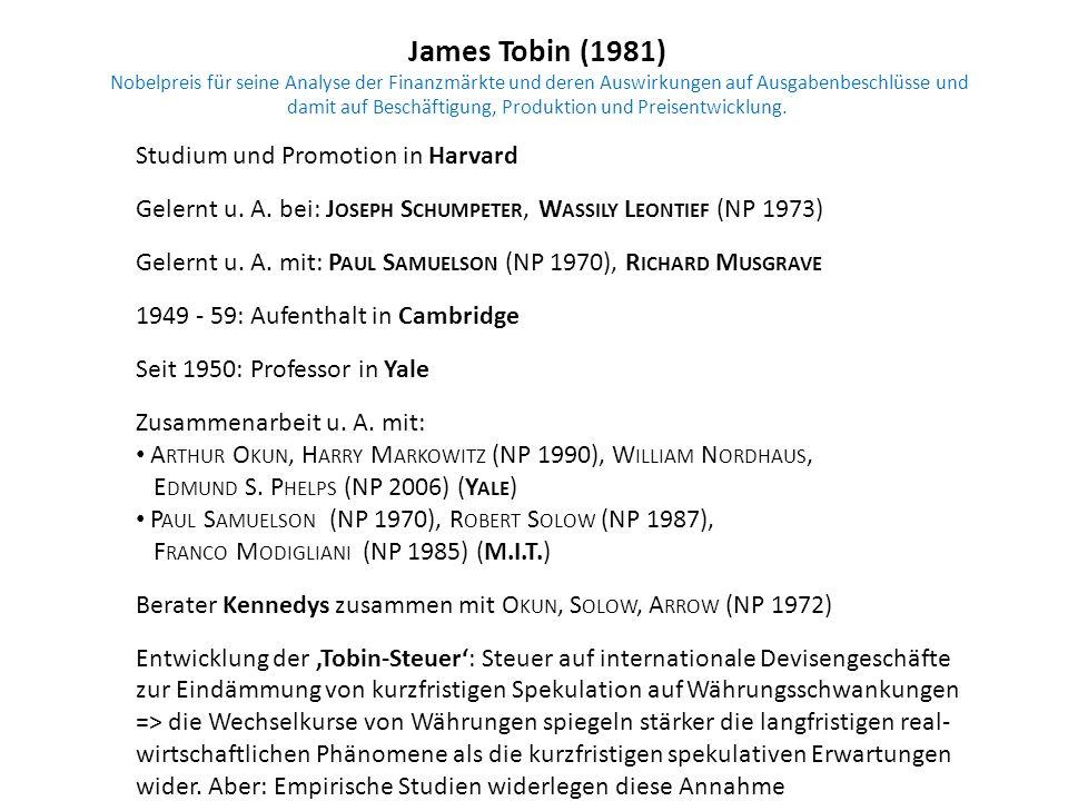 James Tobin (1981) Nobelpreis für seine Analyse der Finanzmärkte und deren Auswirkungen auf Ausgabenbeschlüsse und damit auf Beschäftigung, Produktion