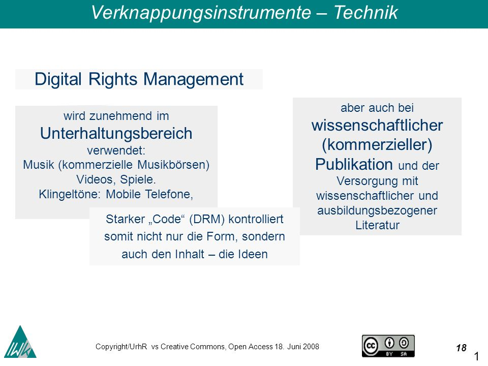 18 Copyright/UrhR vs Creative Commons, Open Access 18.