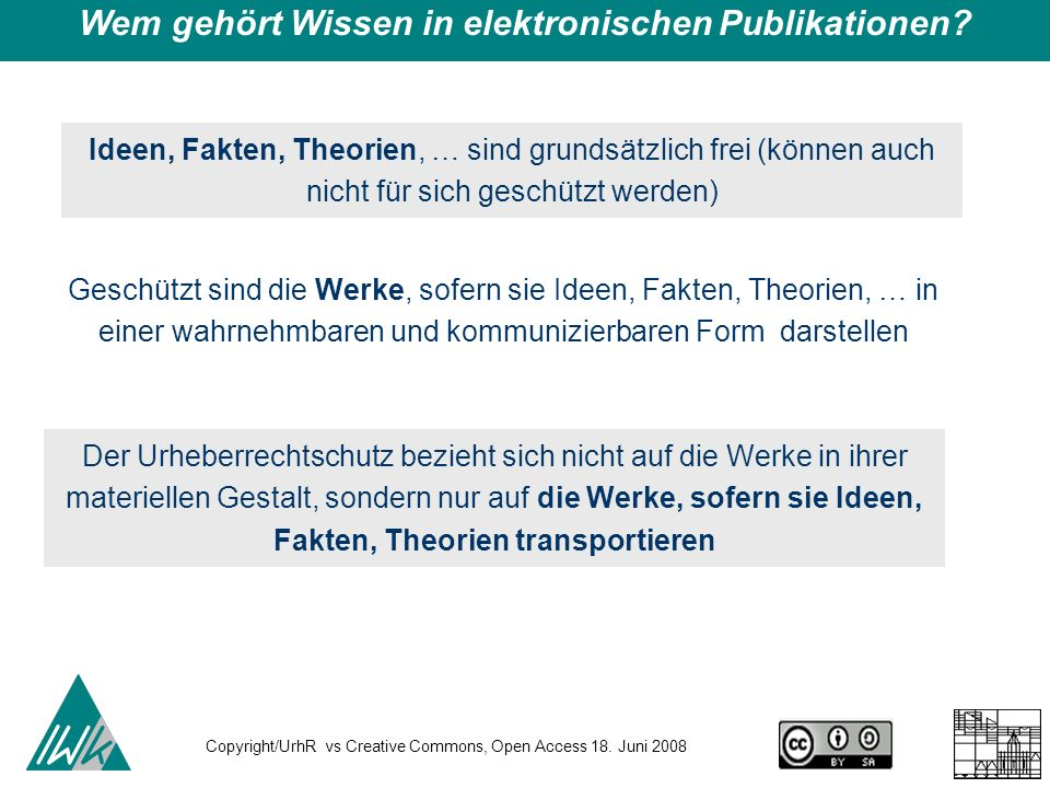 Copyright/UrhR vs Creative Commons, Open Access 18.
