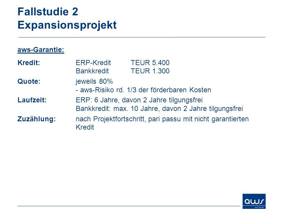 Fallstudie 2 Expansionsprojekt aws-Garantie: Kredit:ERP-Kredit TEUR 5.400 Bankkredit TEUR 1.300 Quote:jeweils 80% - aws-Risiko rd. 1/3 der förderbaren