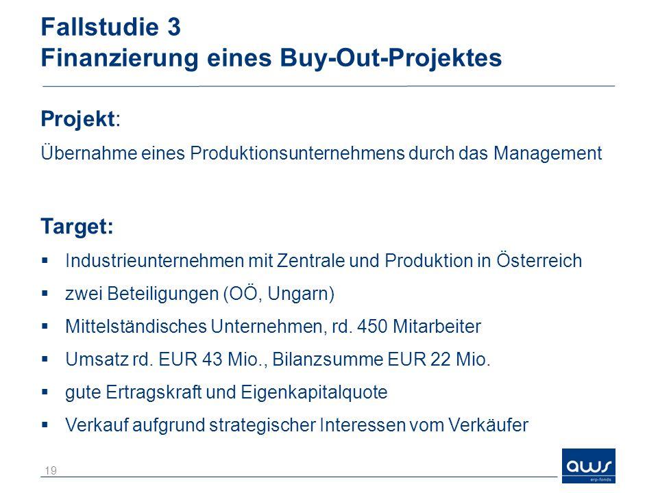 Fallstudie 3 Finanzierung eines Buy-Out-Projektes Projekt: Übernahme eines Produktionsunternehmens durch das Management Target: Industrieunternehmen mit Zentrale und Produktion in Österreich zwei Beteiligungen (OÖ, Ungarn) Mittelständisches Unternehmen, rd.