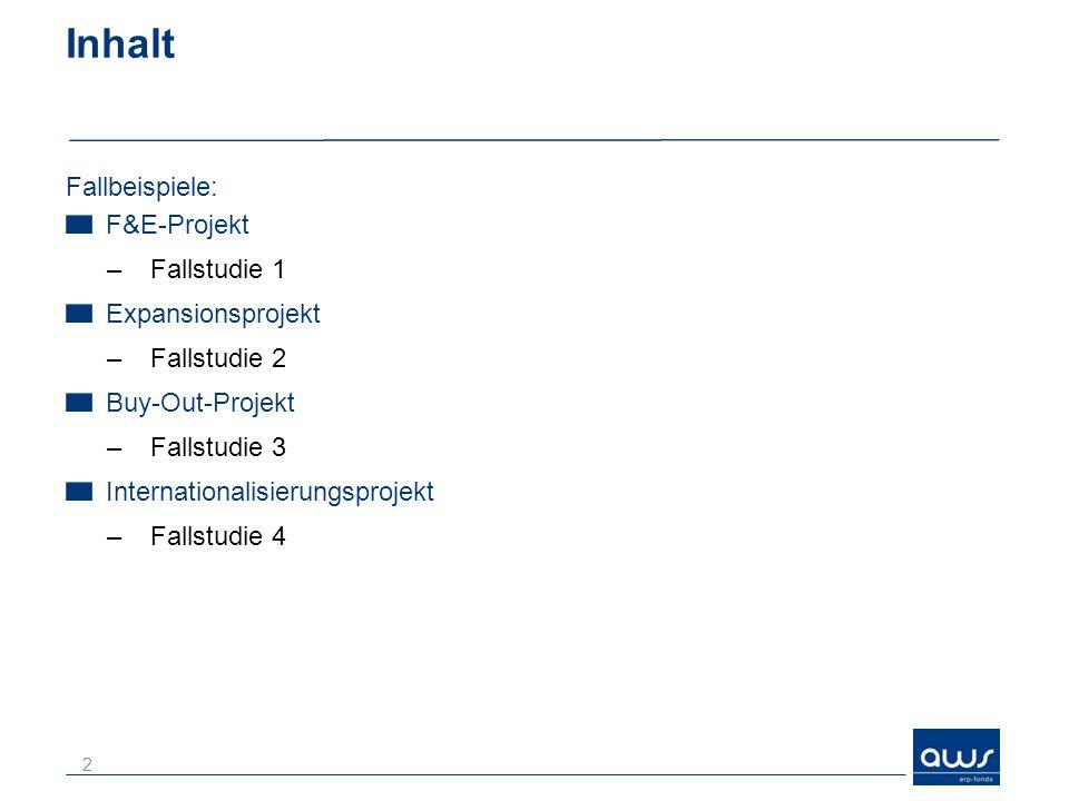 Inhalt Fallbeispiele: F&E-Projekt –Fallstudie 1 Expansionsprojekt –Fallstudie 2 Buy-Out-Projekt –Fallstudie 3 Internationalisierungsprojekt –Fallstudie 4 2