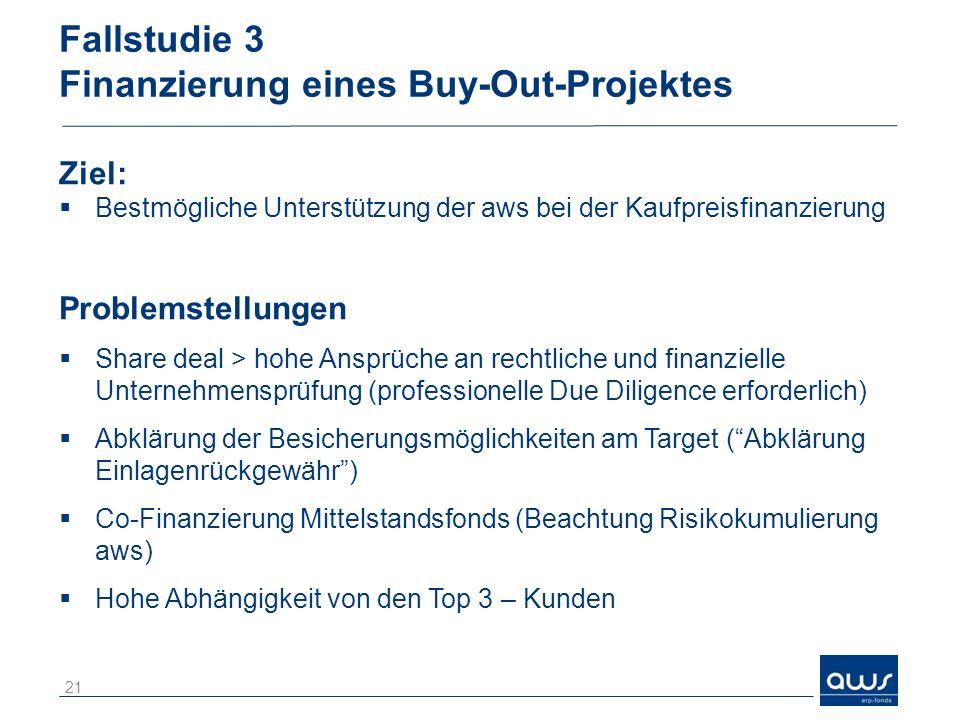 Fallstudie 3 Finanzierung eines Buy-Out-Projektes Ziel: Bestmögliche Unterstützung der aws bei der Kaufpreisfinanzierung Problemstellungen Share deal > hohe Ansprüche an rechtliche und finanzielle Unternehmensprüfung (professionelle Due Diligence erforderlich) Abklärung der Besicherungsmöglichkeiten am Target (Abklärung Einlagenrückgewähr) Co-Finanzierung Mittelstandsfonds (Beachtung Risikokumulierung aws) Hohe Abhängigkeit von den Top 3 – Kunden 21