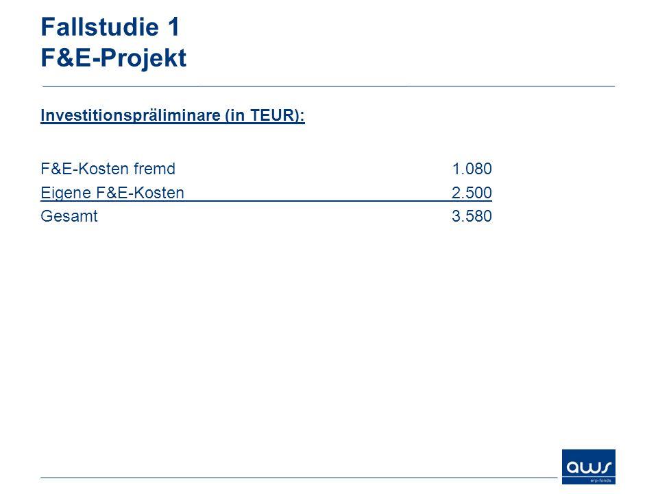 Fallstudie 1 F&E-Projekt Finanzierung (in TEUR): Cash-flow 70019,6% ERP-Kredit (aws-Garantie 80 %)2.30064,2% Nostro-Kredit Bank58016,2% Gesamt3.580 100,0%