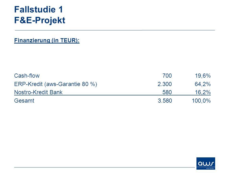 Fallstudie 1 F&E-Projekt Finanzierung (in TEUR): Cash-flow 70019,6% ERP-Kredit (aws-Garantie 80 %)2.30064,2% Nostro-Kredit Bank58016,2% Gesamt3.580 10