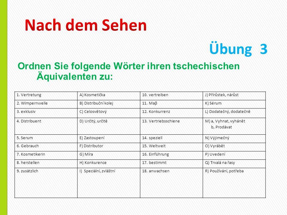 Ordnen Sie folgende Wörter ihren tschechischen Äquivalenten zu: Übung 3 1.