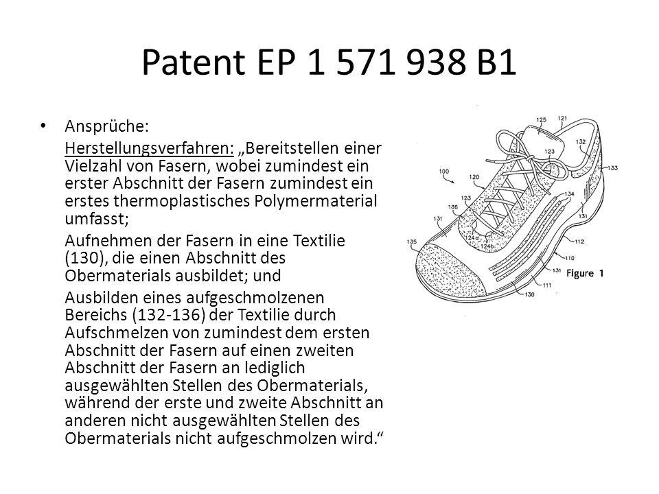 Patent EP 1 571 938 B1 Ansprüche: Herstellungsverfahren: Bereitstellen einer Vielzahl von Fasern, wobei zumindest ein erster Abschnitt der Fasern zumi