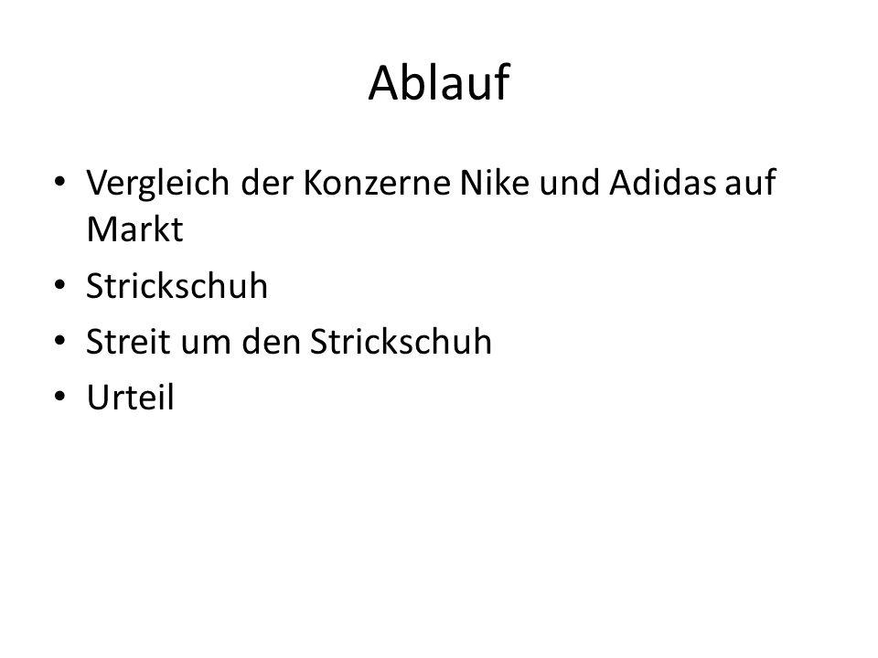 Ablauf Vergleich der Konzerne Nike und Adidas auf Markt Strickschuh Streit um den Strickschuh Urteil