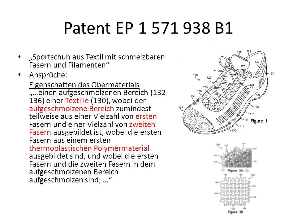 Patent EP 1 571 938 B1 Sportschuh aus Textil mit schmelzbaren Fasern und Filamenten Ansprüche: Eigenschaften des Obermaterials …einen aufgeschmolzenen Bereich (132- 136) einer Textilie (130), wobei der aufgeschmolzene Bereich zumindest teilweise aus einer Vielzahl von ersten Fasern und einer Vielzahl von zweiten Fasern ausgebildet ist, wobei die ersten Fasern aus einem ersten thermoplastischen Polymermaterial ausgebildet sind, und wobei die ersten Fasern und die zweiten Fasern in dem aufgeschmolzenen Bereich aufgeschmolzen sind; …