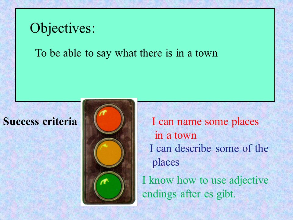 Objectives: Success criteria To be able to say what there is in a town I can name some places in a town I can describe some of the places I know how to use adjective endings after es gibt.