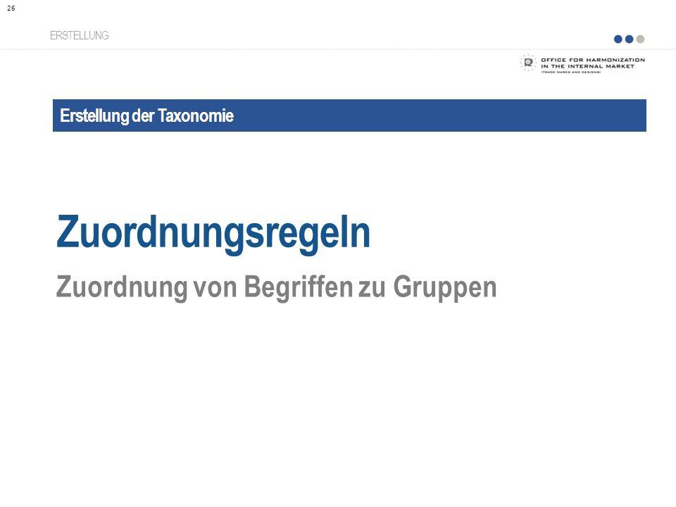Erstellung der Taxonomie Zuordnungsregeln ERSTELLUNG Zuordnung von Begriffen zu Gruppen 26