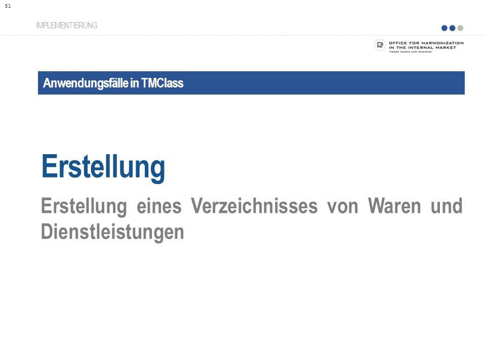Anwendungsfälle in TMClass Erstellung IMPLEMENTIERUNG Erstellung eines Verzeichnisses von Waren und Dienstleistungen 51