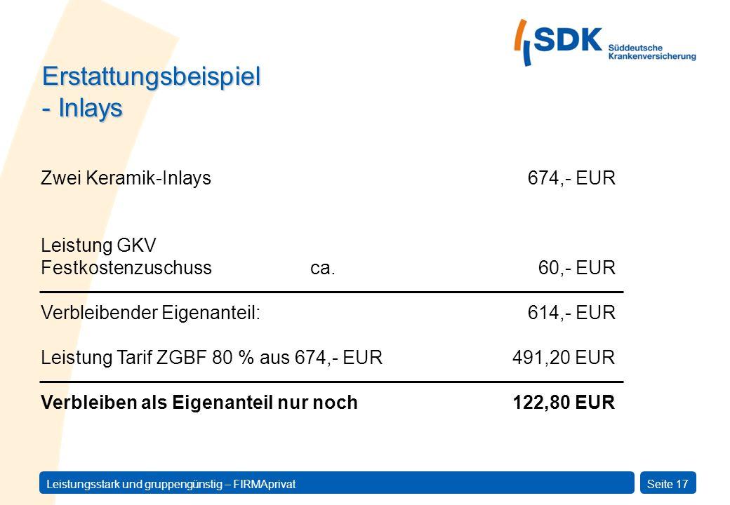 Leistungsstark und gruppengünstig – FIRMAprivatSeite 17 Erstattungsbeispiel - Inlays Leistung GKV Festkostenzuschuss ca. 60,- EUR Verbleibender Eigena