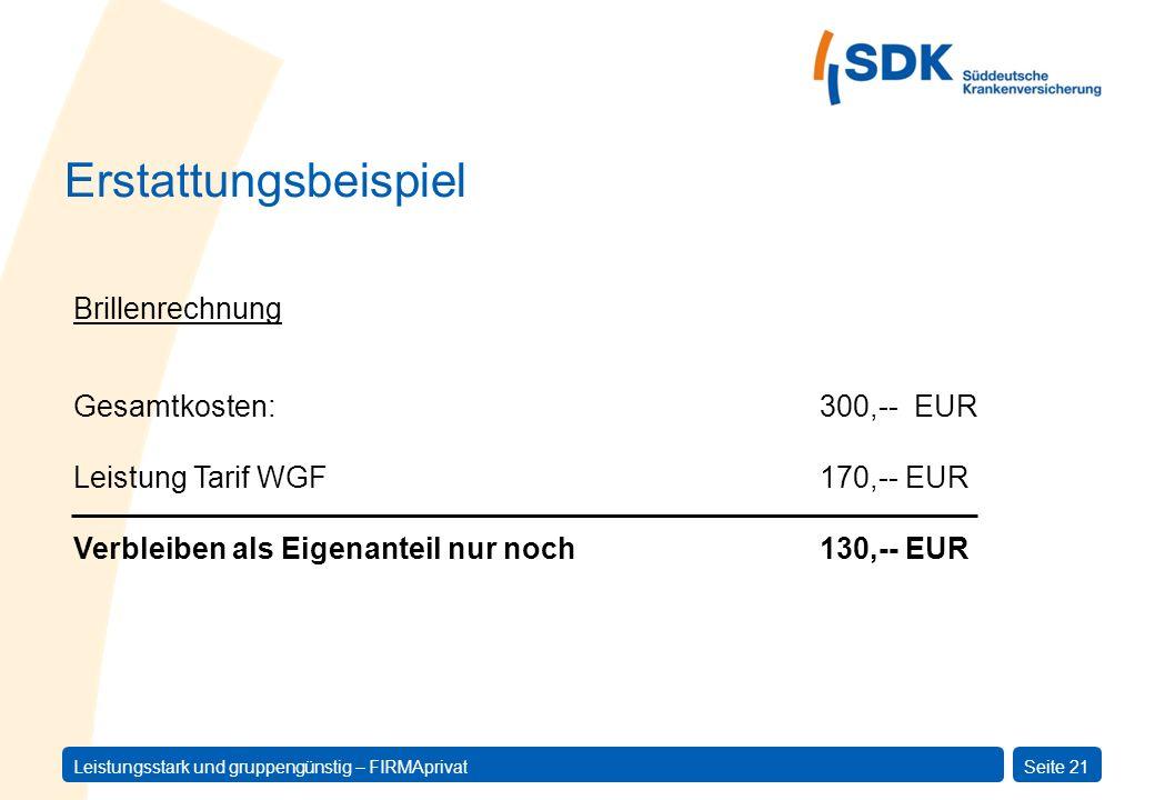 Leistungsstark und gruppengünstig – FIRMAprivatSeite 21 Gesamtkosten:300,-- EUR Leistung Tarif WGF170,-- EUR Verbleiben als Eigenanteil nur noch130,--