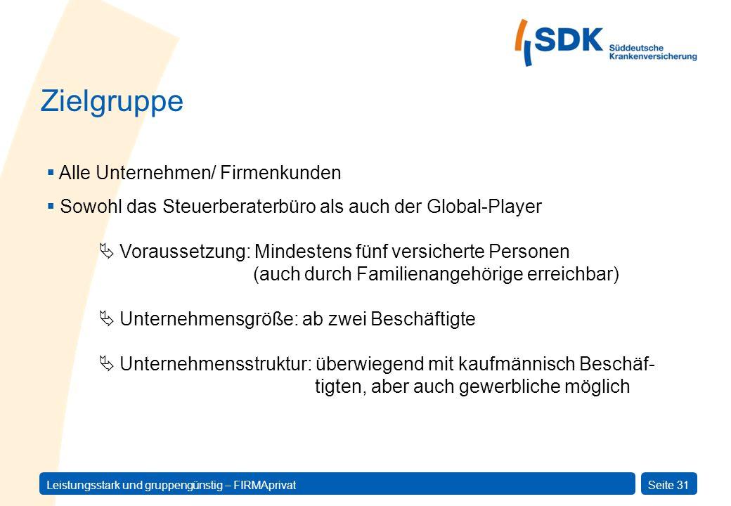 Leistungsstark und gruppengünstig – FIRMAprivatSeite 31 Alle Unternehmen/ Firmenkunden Sowohl das Steuerberaterbüro als auch der Global-Player Vorauss