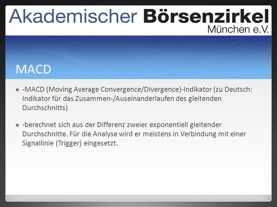 MACD -MACD (Moving Average Convergence/Divergence)-Indikator (zu Deutsch: Indikator für das Zusammen-/Auseinanderlaufen des gleitenden Durchschnitts) -berechnet sich aus der Differenz zweier exponentiell gleitender Durchschnitte.