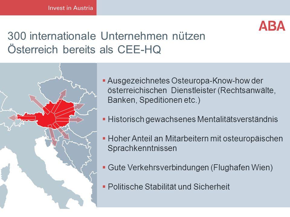300 internationale Unternehmen nützen Österreich bereits als CEE-HQ Ausgezeichnetes Osteuropa-Know-how der österreichischen Dienstleister (Rechtsanwäl