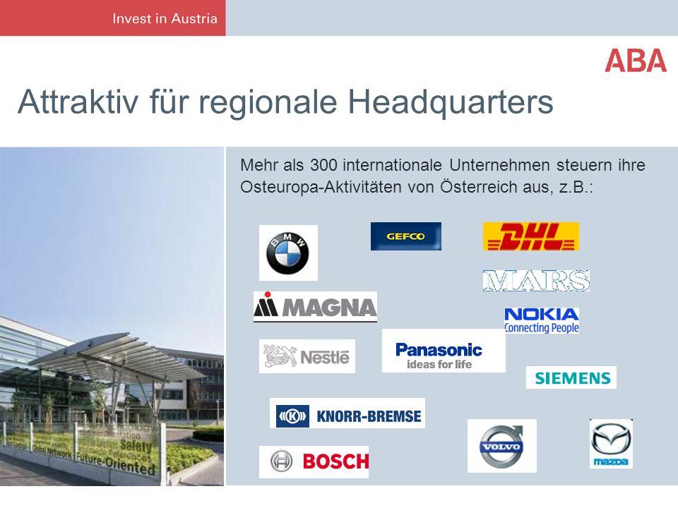 Attraktiv für regionale Headquarters Mehr als 300 internationale Unternehmen steuern ihre Osteuropa-Aktivitäten von Österreich aus, z.B.: