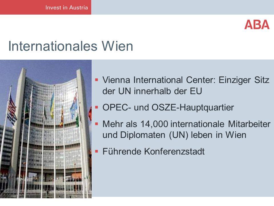 Internationales Wien Vienna International Center: Einziger Sitz der UN innerhalb der EU OPEC- und OSZE-Hauptquartier Mehr als 14,000 internationale Mi