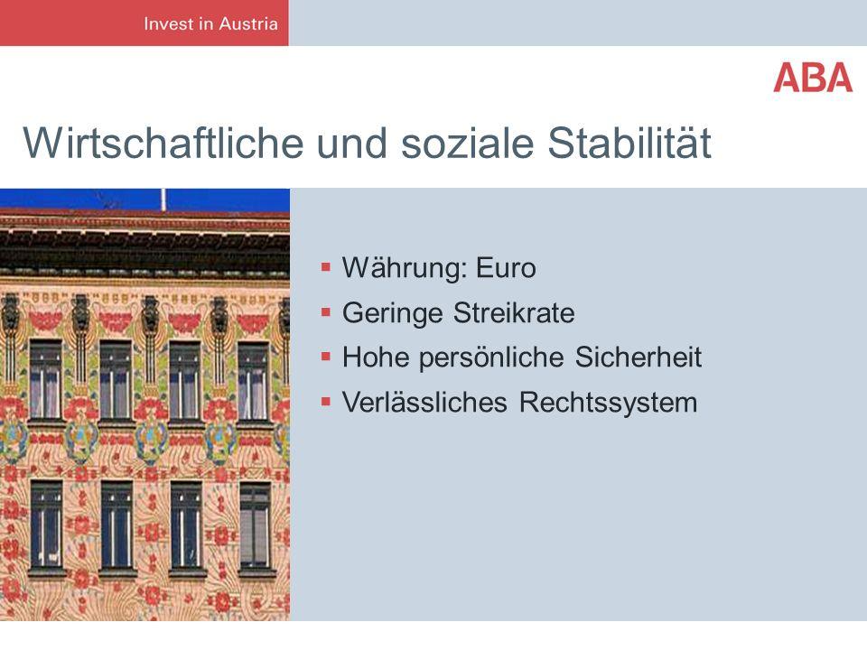 Wirtschaftliche und soziale Stabilität Währung: Euro Geringe Streikrate Hohe persönliche Sicherheit Verlässliches Rechtssystem