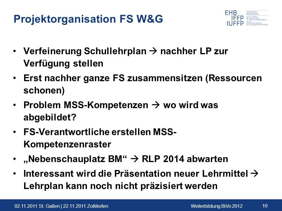 02.11.2011 St. Gallen | 22.11.2011 ZollikofenWeiterbildung BiVo 2012 10 Projektorganisation FS W&G Verfeinerung Schullehrplan nachher LP zur Verfügung