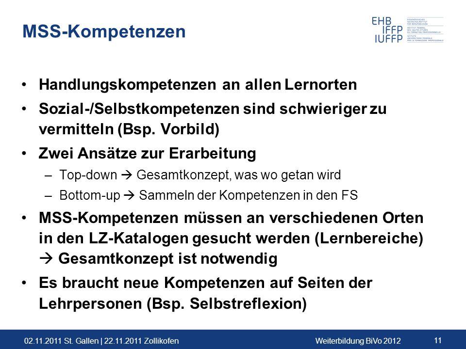 02.11.2011 St. Gallen | 22.11.2011 ZollikofenWeiterbildung BiVo 2012 11 MSS-Kompetenzen Handlungskompetenzen an allen Lernorten Sozial-/Selbstkompeten