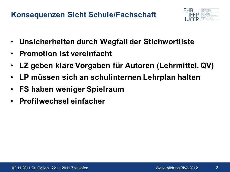 02.11.2011 St. Gallen | 22.11.2011 ZollikofenWeiterbildung BiVo 2012 3 Konsequenzen Sicht Schule/Fachschaft Unsicherheiten durch Wegfall der Stichwort