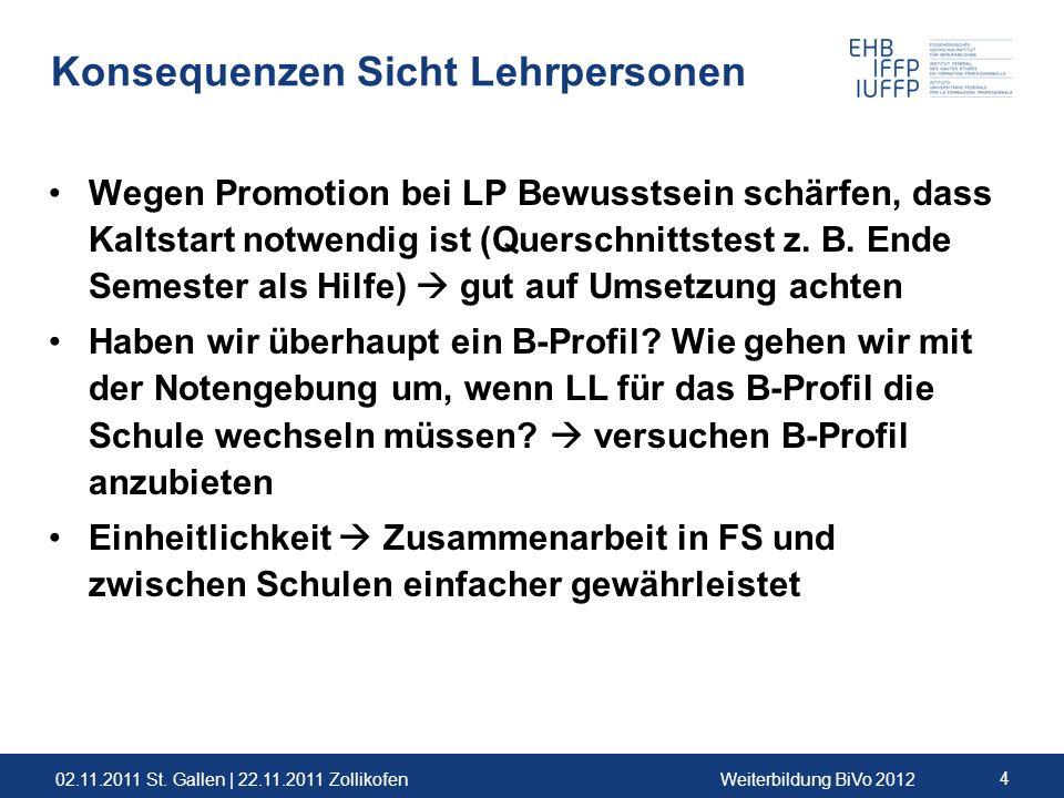 02.11.2011 St. Gallen | 22.11.2011 ZollikofenWeiterbildung BiVo 2012 4 Konsequenzen Sicht Lehrpersonen Wegen Promotion bei LP Bewusstsein schärfen, da