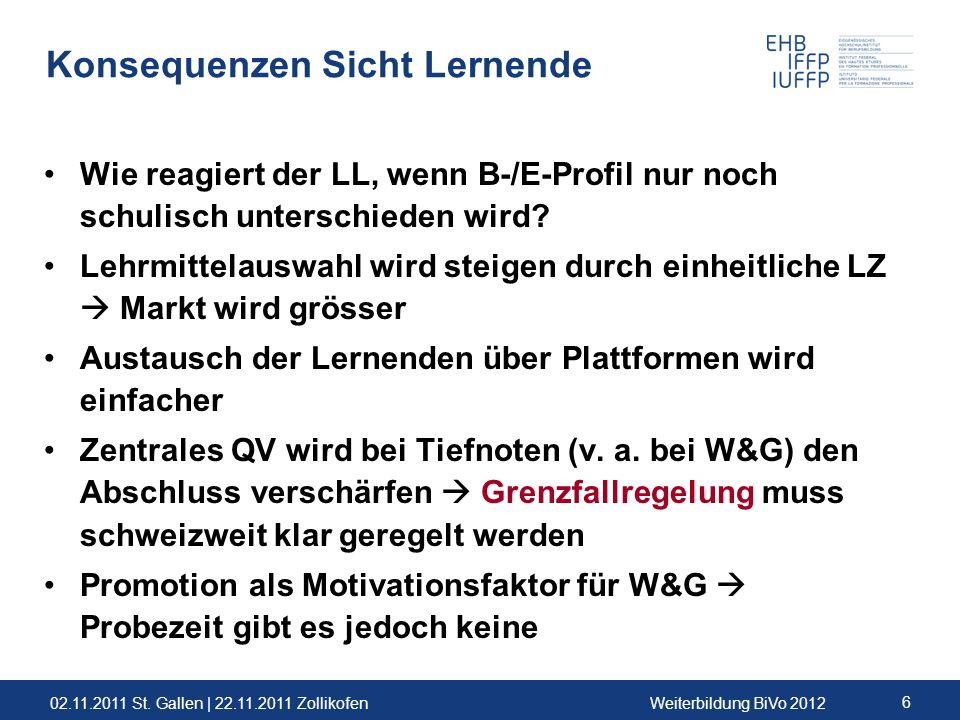 02.11.2011 St. Gallen | 22.11.2011 ZollikofenWeiterbildung BiVo 2012 6 Konsequenzen Sicht Lernende Wie reagiert der LL, wenn B-/E-Profil nur noch schu