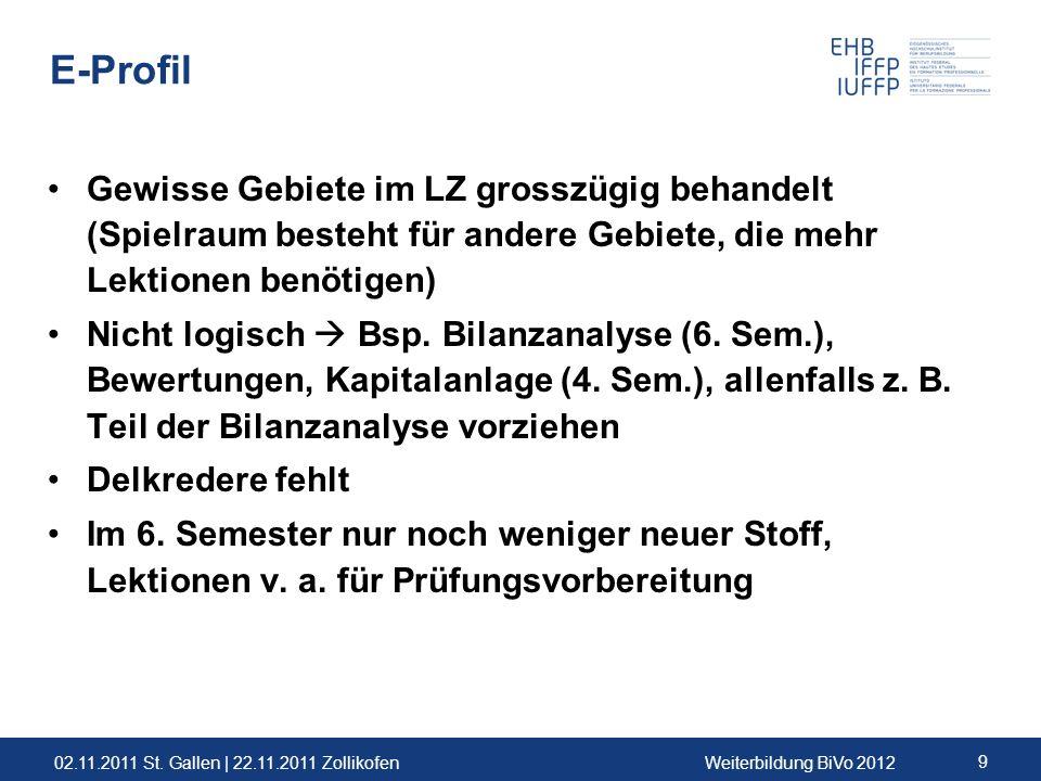 02.11.2011 St. Gallen | 22.11.2011 ZollikofenWeiterbildung BiVo 2012 9 E-Profil Gewisse Gebiete im LZ grosszügig behandelt (Spielraum besteht für ande