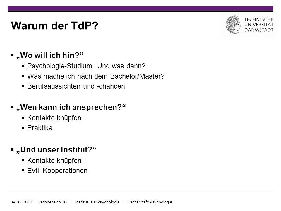 Warum der TdP? Wo will ich hin? Psychologie-Studium. Und was dann? Was mache ich nach dem Bachelor/Master? Berufsaussichten und -chancen Wen kann ich