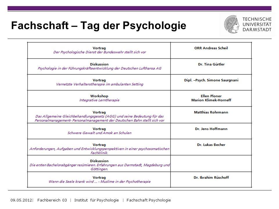 Fachschaft – Tag der Psychologie 09.05.2012| Fachbereich 03 | Institut für Psychologie | Fachschaft Psychologie
