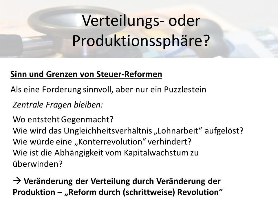 Sinn und Grenzen von Steuer-Reformen Als eine Forderung sinnvoll, aber nur ein Puzzlestein Verteilungs- oder Produktionssphäre? Veränderung der Vertei