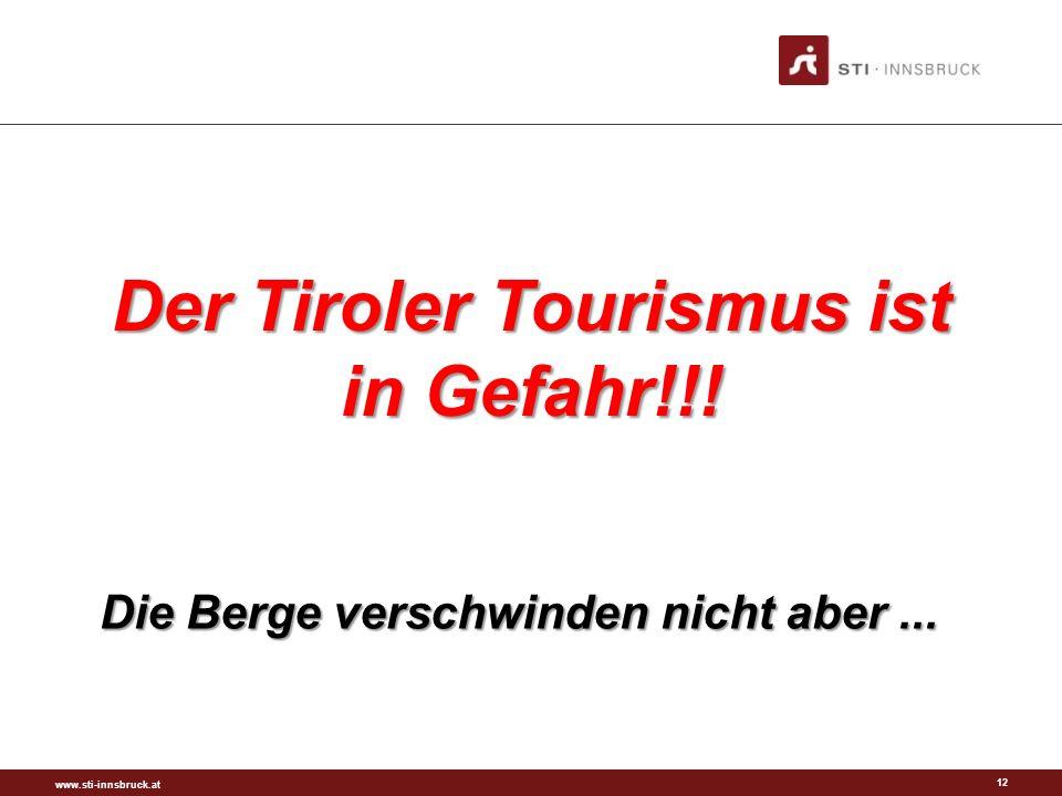 www.sti-innsbruck.at 12 Der Tiroler Tourismus ist in Gefahr!!! Die Berge verschwinden nicht aber...