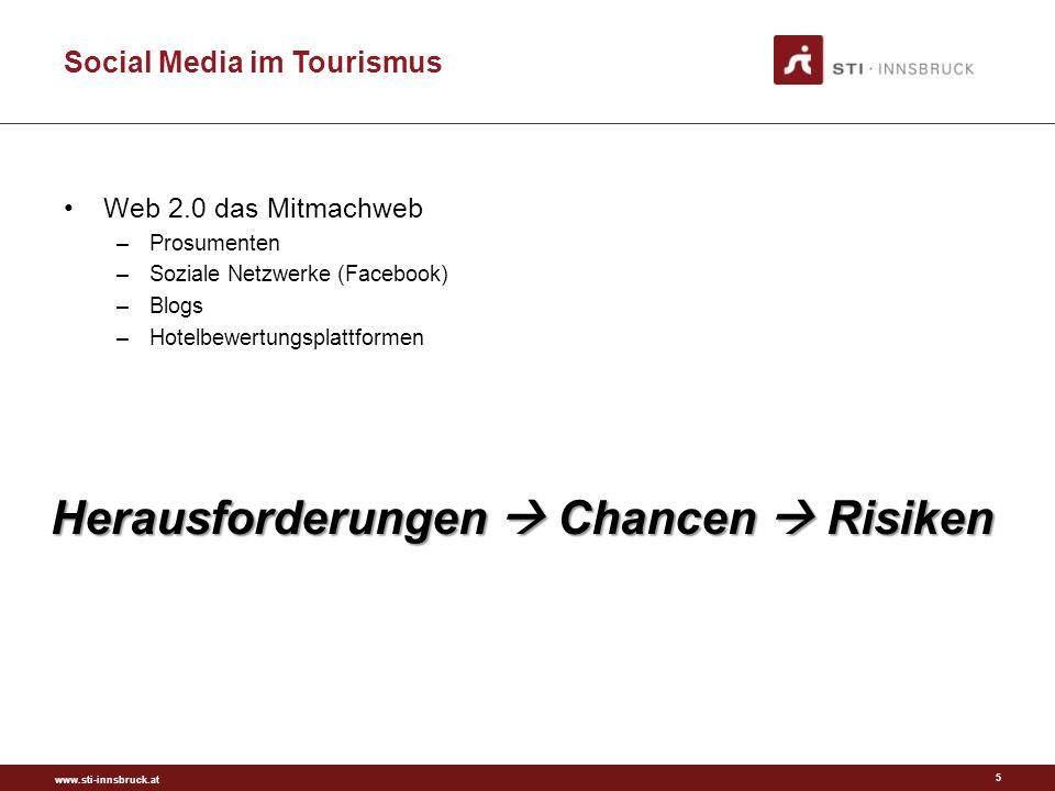 www.sti-innsbruck.at Social Media im Tourismus Web 2.0 das Mitmachweb –Prosumenten –Soziale Netzwerke (Facebook) –Blogs –Hotelbewertungsplattformen 5 Herausforderungen Chancen Risiken