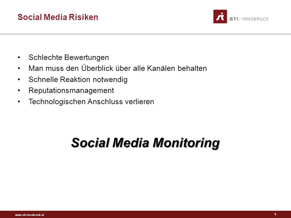 www.sti-innsbruck.at Social Media 10 Gilt für den Betrieb und die Region