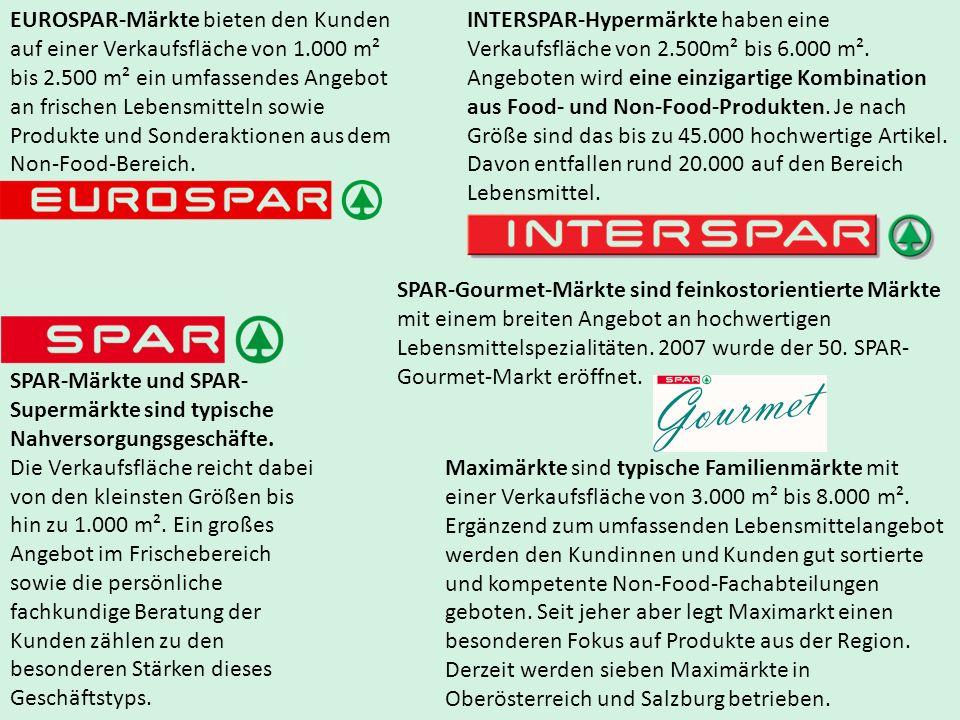 EUROSPAR-Märkte bieten den Kunden auf einer Verkaufsfläche von 1.000 m² bis 2.500 m² ein umfassendes Angebot an frischen Lebensmitteln sowie Produkte