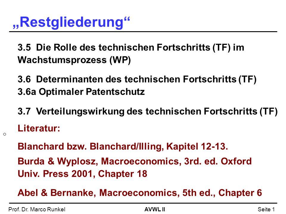 AVWL IIProf. Dr. Marco RunkelSeite 1 3.5 Die Rolle des technischen Fortschritts (TF) im Wachstumsprozess (WP) 3.6 Determinanten des technischen Fortsc