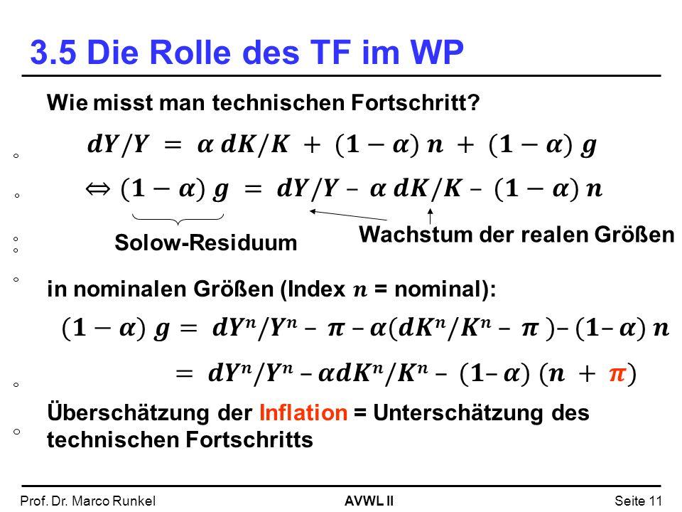 AVWL IIProf. Dr. Marco RunkelSeite 11 Solow-Residuum Wachstum der realen Größen 3.5 Die Rolle des TF im WP