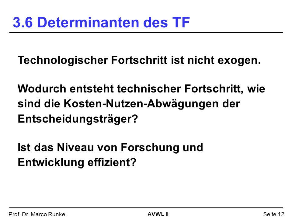 AVWL IIProf. Dr. Marco RunkelSeite 12 Technologischer Fortschritt ist nicht exogen. Wodurch entsteht technischer Fortschritt, wie sind die Kosten-Nutz