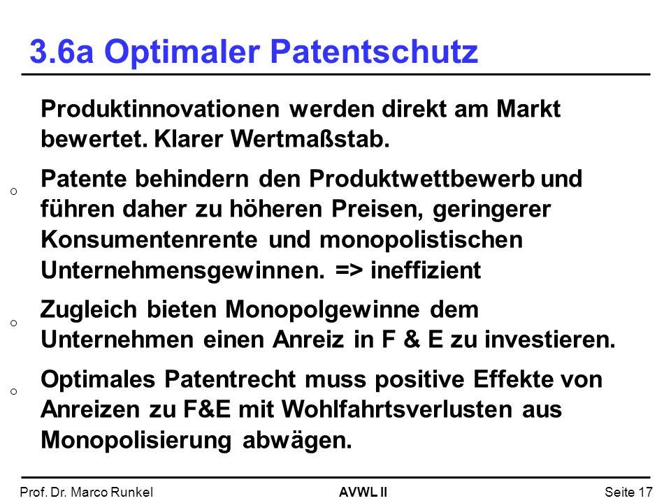 AVWL IIProf. Dr. Marco RunkelSeite 17 Produktinnovationen werden direkt am Markt bewertet. Klarer Wertmaßstab. Patente behindern den Produktwettbewerb