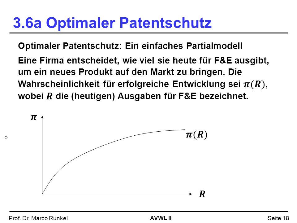AVWL IIProf. Dr. Marco RunkelSeite 18 3.6a Optimaler Patentschutz