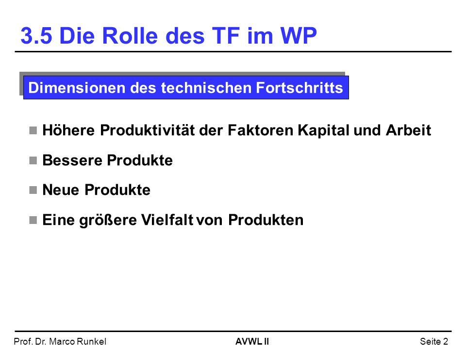 AVWL IIProf. Dr. Marco RunkelSeite 2 Höhere Produktivität der Faktoren Kapital und Arbeit Bessere Produkte Neue Produkte Eine größere Vielfalt von Pro