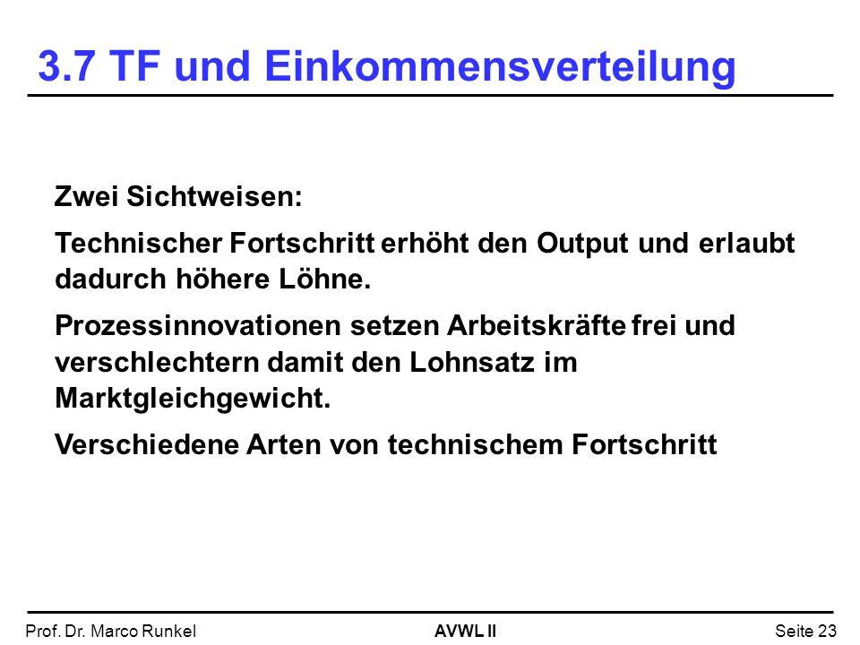 AVWL IIProf. Dr. Marco RunkelSeite 23 Zwei Sichtweisen: Technischer Fortschritt erhöht den Output und erlaubt dadurch höhere Löhne. Prozessinnovatione