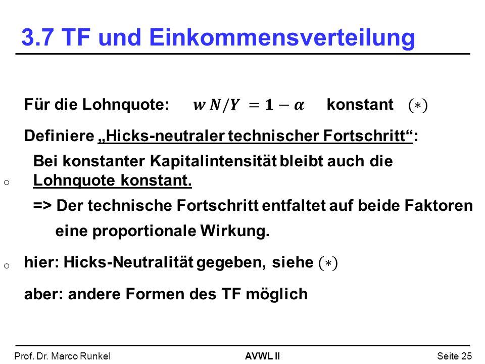 AVWL IIProf. Dr. Marco RunkelSeite 25 3.7 TF und Einkommensverteilung
