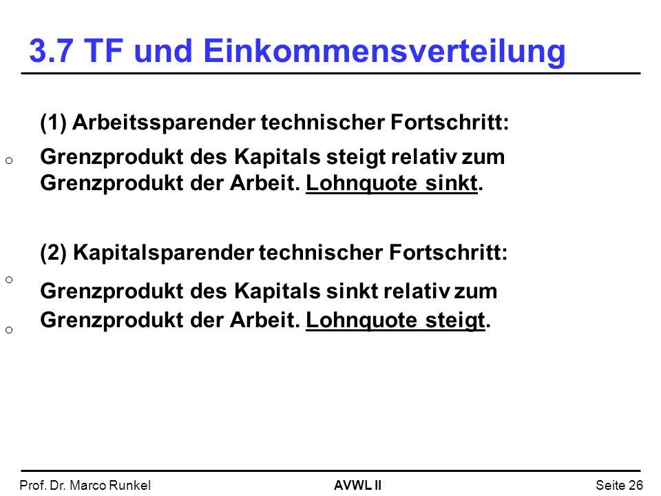 AVWL IIProf. Dr. Marco RunkelSeite 26 (1) Arbeitssparender technischer Fortschritt: Grenzprodukt des Kapitals steigt relativ zum Grenzprodukt der Arbe