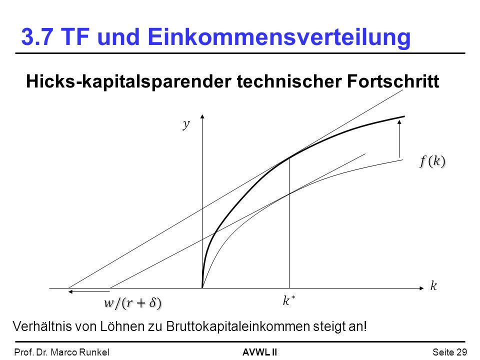AVWL IIProf. Dr. Marco RunkelSeite 29 Hicks-kapitalsparender technischer Fortschritt Verhältnis von Löhnen zu Bruttokapitaleinkommen steigt an! 3.7 TF